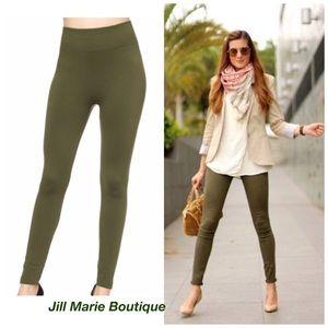 Olive green leggings fleece lined M/L NWT